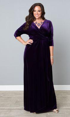 We've got velvet wrap dresses for your evening wear, formal and special occasions. Shop our Velvet Luxe Wrap Dress at www.kiyonna.com  #Kiyonna #velvetdress #eveningwear