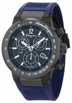 Ferragamo Men's F55LCQ6809 SR04 F-80 Ceramic Tachymeter Bezel Sapphire Crystal Blue Rubber Chronograph Date Watch Ferragamo. $1925.00. Chronograph function; seconds sub-dial. Ceramic bezel with tachymeter. Luminous hands and hour markers; date window. Water-resistant to 100 M (330 feet). Titanium case with black ip coating