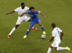 Nowhere to turn: Danny Welbeck and Glen Johnson keep a close eye on Andrea Pirlo...