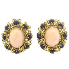 1960s Lapis Coral 18k Gold Earrings