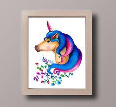 This item is unavailable Unicorn Wall Art, Unicorn Painting, Love Painting, Penguin Illustration, Watercolor Illustration, Watercolor Paintings, Nursery Wall Art, Nursery Decor, Cat Drinking