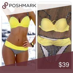 Yellow push up bikini Cute yellow push up bikini with adjustable straps! With black & white checkered decor. These run true to size or slightly small. Swim Bikinis