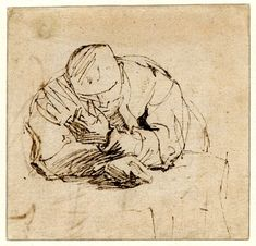 Sketch of a man leaning over a table; HL to front, with both arms on a table. c.1628-9 Pen and brown ink