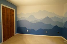 "Homeowner question: ""Could you do a mountain silhouette design? Our reply: ""We could definitely give it a try."" And voilà! #handsomepainting #indoorpainting #housepainting #housepainter #painter #paintlife #residentialpainting #southwestmichiganpainting #michianapainting #pdcanational #keepcraftalive #benjaminmoore #benjaminmoorepaint #roomdesign"