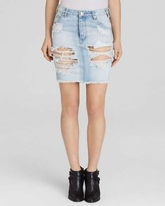 One Teaspoon Skirt - Denim in Wilde $51 #SeoulsSummer