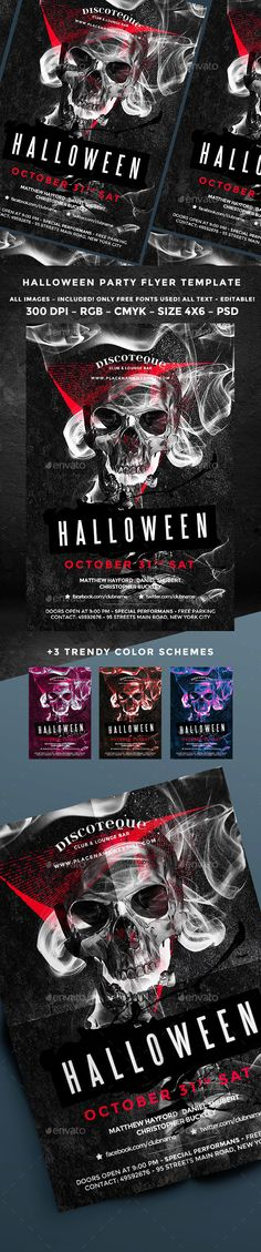 Halloween Fonts, Flyer template and Halloween - zombie flyer template