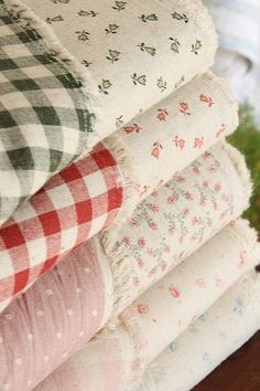 Double sided fabrics~cotton linen blend floral & gingham at cottonblue