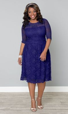 Scalloped Luna Lace Dress in Ultraviolet. $158.00. http://www.kiyonna.com/plus-size-clothing/11130908