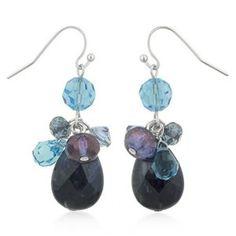 Genuine Sodalite Cluster Drop Earrings