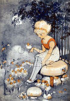 Adorable art deco illustration by Hilda Cowham circa Vintage Fairies, Vintage Art, Art Deco Illustration, Botanical Illustration, Girl Illustrations, Art Deco Print, Fairytale Art, Woodland Creatures, Fairy Art