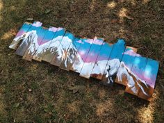 This listing is for a hand painted sign featuring the snow capped mountain range of Mt. Princeton in Colorado. It features a green and pink