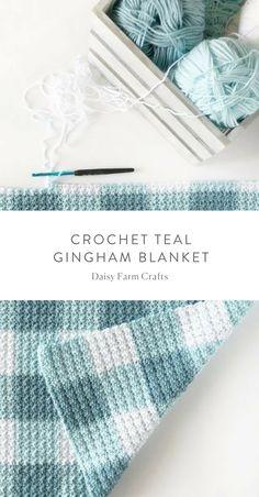 Free Pattern - Crochet Teal Gingham Blanket