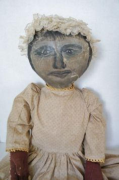 """Early painted face black cloth doll 34"""""""