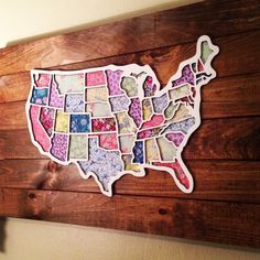 "Laser Cut map of the US, all states are cut out, and the border around the entire map is as well.Best recommended on the Corrugated WHITE Cardboard for $$, or on a wood material, if the cost is acceptable. 16"" high by about 23"" wide. cut out fabric to back each state, starched them, glued them behind Then mounted the entire project onto wooden planks in a 2' x 3' size - to serves as the ""frame"".u also receive each state as a cut out, when you purchase this item! Essentially, 2 for the price…"