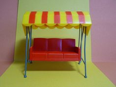 Vintage Dolls House Furniture, Red Swing, Garden Seat, Swinging Hammock, Triang, Spot-On, 1/16 scale, Jenny's Home, Rare 1960's Collectable