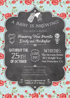 Beer & Baby! A Couples' Shower Invitation by ThePurrfectParty.  Only $12 on Etsy!