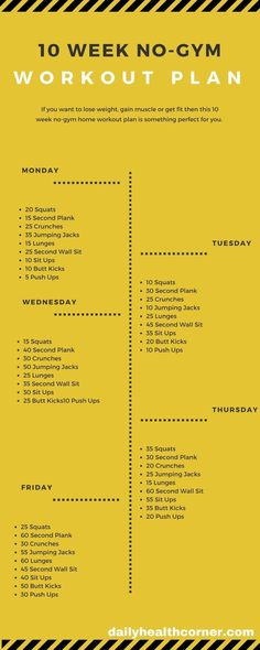 If you want to lose weight, gain muscle or get fit then this 10 week no-gym home workout plan is something perfect for you. If you want to lose weight, gain muscle or get fit then this 10 week no-gym home workout plan is something perfect for you. 10 Week No Gym Workout, At Home Workout Plan, Workout Ideas, Weekly Exercise Plan, Daily Workout Routine, 3 Month Workout Plan, Exercise At Home, Morning Workout At Home, Exercise Plans