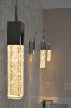 In a small bathroom it could be highlight. classic luxury bathroom lights - something like this in a pendant light would be neat Interior Lighting, Home Lighting, Lighting Ideas, Luxury Lighting, Bedroom Lighting, Lighting Design, Luminaire Design, Light Fittings, Beautiful Bathrooms