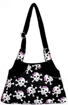 Glitter Black Skulls Pink Bow  Adj Strap by NTwilightsCreations