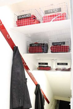 Basement Stairwell Turned Coat Closet - Transforming a Tiny Space into an Effective Storage Solution. Love this idea for the basement. Would free up lots of space in front closet. Basement Storage, Stair Storage, Basement Remodeling, Basement Bathroom, Basement Apartment, Closet Storage, Understairs Closet, Over Stairs Storage, Staircase Storage