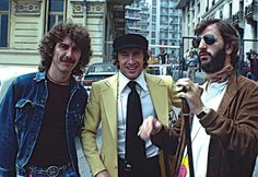 George Harrison, Formula One racing driver  Jackie Stewart, and Ringo Starr photo by Nancy Lee Andrews