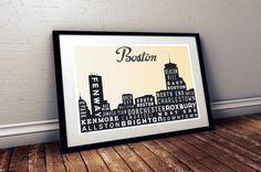 BOSTON typografische Skyline Print Typografie von GoingUnderground