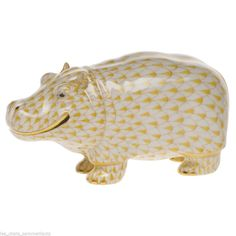 Herend Hippo Porcelain Figurine Butterscotch Fishnet Flawless Retail $460 | eBay  $295