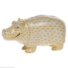 Herend Hippo Porcelain Figurine Butterscotch Fishnet Flawless Retail $460 | eBay  $295