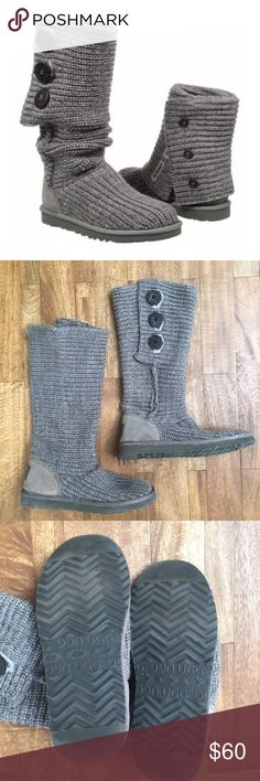 Ugg Classic Cardy Boots Wool / Acrylic soft knit blend with suede heel and wood buttons. Can be worn up, rolled down, or even partially unbuttoned. Worn a few times and in great condition. UGG Shoes Winter & Rain Boots
