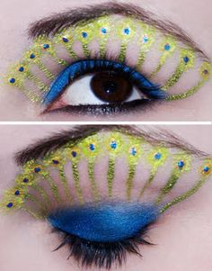 20 + Peacock Feather Inspired Eye Make Up Designs, Ideas & Looks Peacock Eye Makeup, Dramatic Eye Makeup, Beautiful Eye Makeup, Beautiful Eyes, Amazing Makeup, Crazy Eyeshadow, Eyeshadow Makeup, Green Eyeshadow, Foil Eyeshadow
