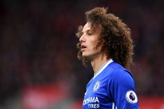 David Luiz of Chelsea looks on during the Premier League match between Stoke City and Chelsea at Bet365 Stadium on March 18, 2017 in Stoke on Trent, England.