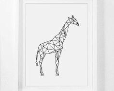 Digitale Kinderzimmer Kunst, Giraffe Kunst Drucke, Kindergarten Wandkunst Drucke, Giraffe Grafik, druckbare Tier, Giraffe Wall Prints, geometrische Tier