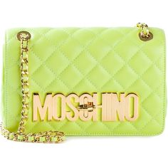 Moschino quilted shoulder bag (879 CAD) ❤ liked on Polyvore featuring bags, handbags, shoulder bags, clutches, green, moschino, borse, quilted shoulder bag, quilted leather handbags and leather handbags