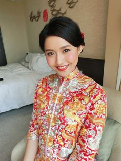 Like the color in lips and cheek. 2015/9/29 bridal makeup work Chinese traditional style