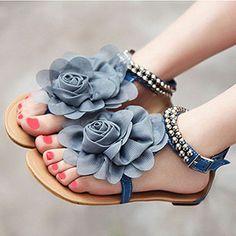 Sandalias con flor de gasa