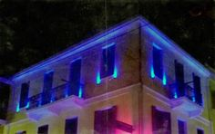 Neoclassical building in patra  with neon colours