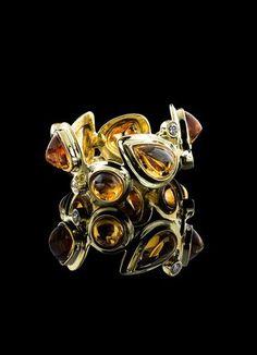 Citrine & Diamond 18K Mosaic Band - Darby Scott Affordable Jewelry, Holiday Gifts, Jewelry Collection, 18k Gold, Cufflinks, Pendants, Brooch, Luxury, Diamond