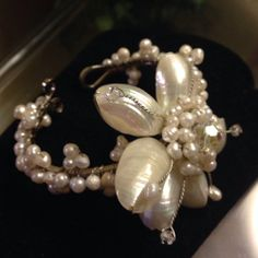 Charming Charlie's Pearl Flower Bracelet  - $15 Flower Bracelet, Pearl Flower, Pearl Necklace, Bracelets, Flowers, Clothes, Jewelry, String Of Pearls, Outfits