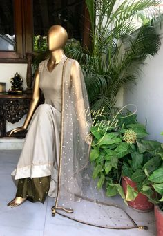 Forget not that the earth delights to feel your bare feet. Beige anarkali in cotton tussar, with zardozi work on the neckline and col… Punjabi Dress, Anarkali Dress, Pakistani Dresses, Indian Dresses, Indian Outfits, Indian Attire, Indian Ethnic Wear, Ethnic Fashion, Indian Fashion