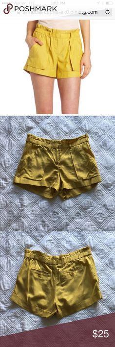 BCBG Bamboo Yellow Shorts Cute and comfy shorts! Elastic waistband but also with zipper and a clasp. Great condition! BCBGMaxAzria Shorts