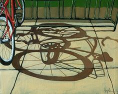 Bicycle & Shadow - bike art , painting by artist Linda Apple Painting Lessons, Art Lessons, Cycling Art, Cycling Quotes, Cycling Jerseys, Shadow Art, Shadow Painting, Bicycle Art, Bicycle Design