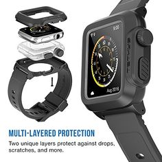 Apple Watch Case, TETHYS Waterproof Case for APPLE WATCH 42MM (Sport/Edition 2015) – Black Premium Protection Rugged Body from Drops, scratches and impacts