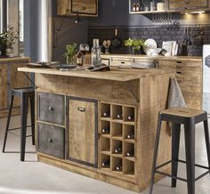 Central kitchen island in solid mango wood and gray metal - Central island in solid mango wood and gray metal Melchior Kitchen Base Units, Kitchen Island Decor, Modern Kitchen Island, Kitchen Stools, Rustic Kitchen, New Kitchen, Kitchen Island Makeover, Kitchen Layouts With Island, Black Kitchens