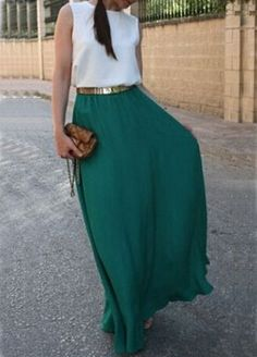 Color-block With Belt Floaty Chiffon Teal Maxi Dress 16.48