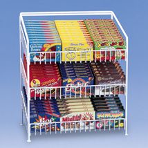 3 Tier Shelf Counter Top Snack Potato Chip & Candy Display Rack H - White Basement Movie Room, Movie Theater Rooms, Cinema Room, Home Theater, Gondola Shelving, Candy Display, Black Counters, Store Fixtures, Display Shelves