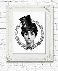 Woman in top hat Digital Collage Sheet Digital by AlphaGraphics