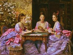 "1872, ""Hearts are Trumps"" (also known as ""Elizabeth, Diana, and Beatrice Armstrong"") - by, John Everett Millais.  I'm In Heaven"