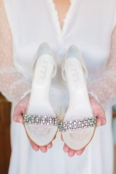 Glam wedding shoes for bride - ivory heels with crystal embellishment + open toe - perfect for spring {Megan Clouse Photography}
