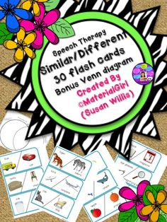 """Thank you for purchasing this Similar/Different 30 Flash Cards Activity. There are 30 flash cards (3"""" x 6""""), each a different same/different set. A bonus Venn diagram is included. Just laminate this and cut out the flash cards. There are 3 per page, 10 pages. #speech #speechtherapy #samedifferent #similardifferent #venn"""