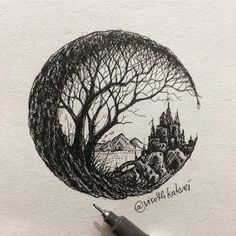 My castle crumbled overnight. Detailed Drawings with many Styles. By Visoth Kakvei. Pen Illustration, Ink Illustrations, Ink Pen Drawings, Detailed Drawings, Pen Art, Sketch Art, Doodle Art, Word Art, Painting & Drawing